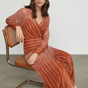 BCBGMaxAzria Sunburst Fan Faux Wrap Dress NWT